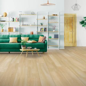Green couch on Laminate Flooring | Westport Flooring