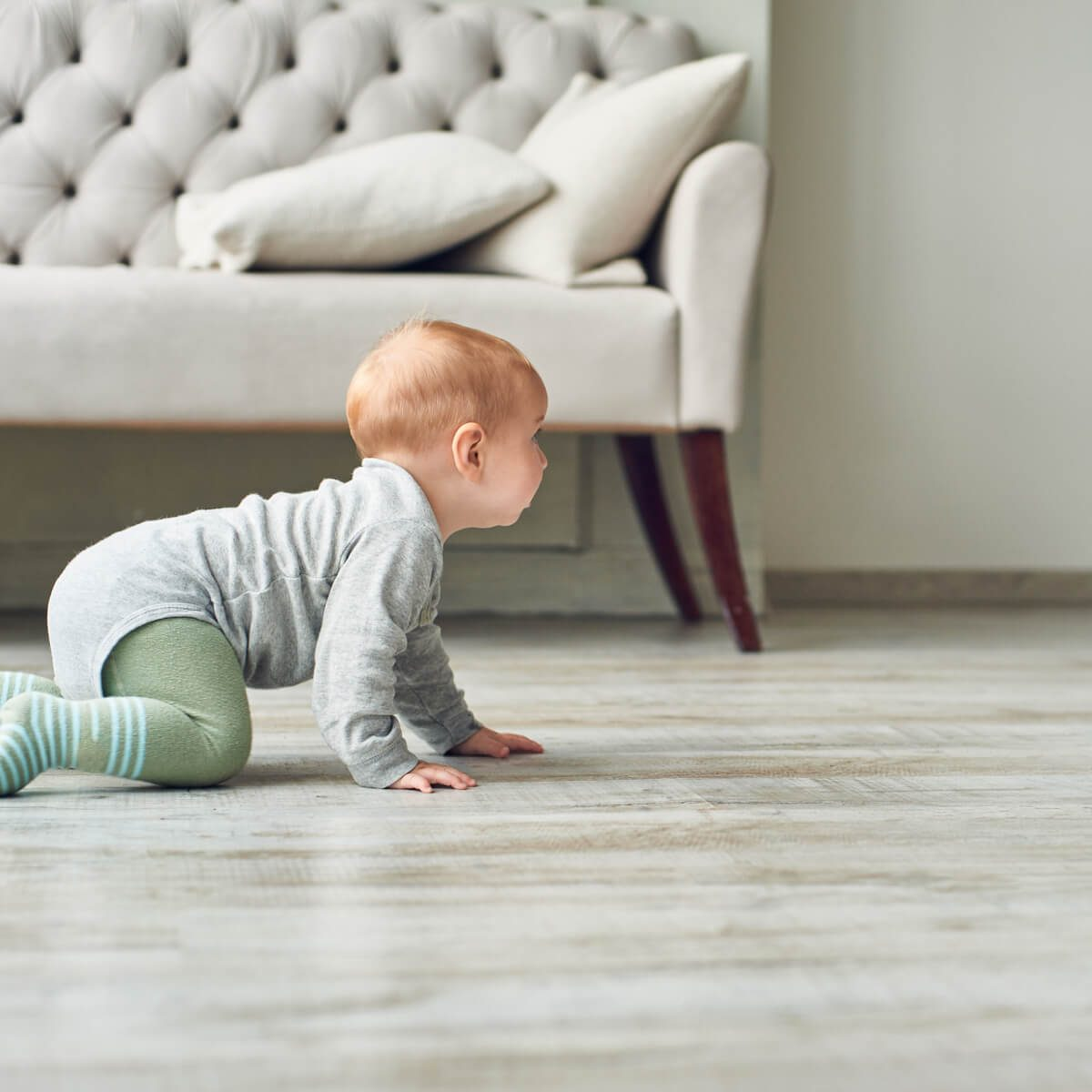 Baby on luxury vinyl floor | Westport Flooring