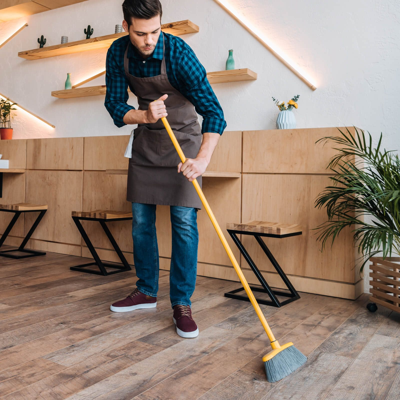 Sweeping hardwood floor | Westport Flooring